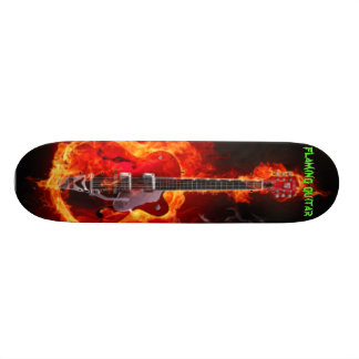flaming guitar skateboard
