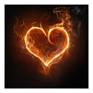"Flaming Heart 5.25"" Square Invitation Card"