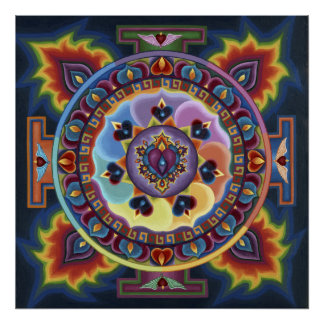 Flaming Heart Mandala Poster
