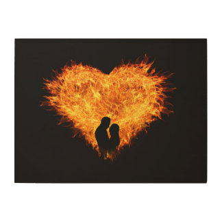 Flaming Heart Passionate Wood Wall Art Wood Prints