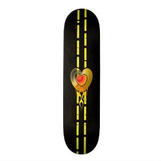 Flaming Heart Skate Board Deck