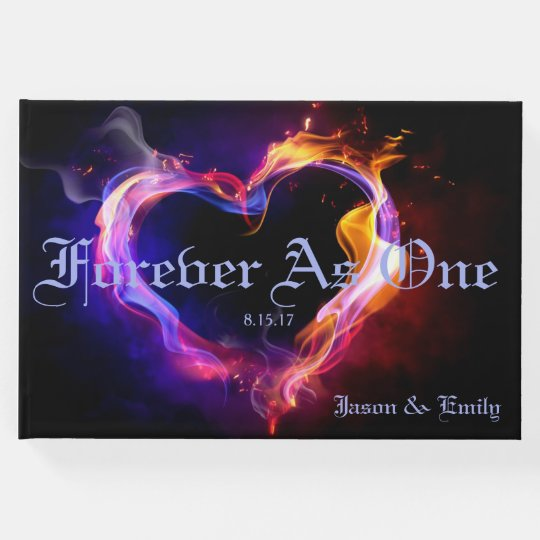 Flaming Heart Wedding Guest Book
