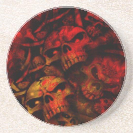 Flaming Hell Gothic Skulls Art Coaster