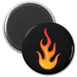 Flaming hot fire flame on black fridge magnet
