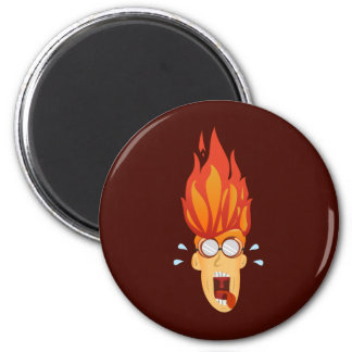 Flaming Hot Head 2 Inch Round Magnet