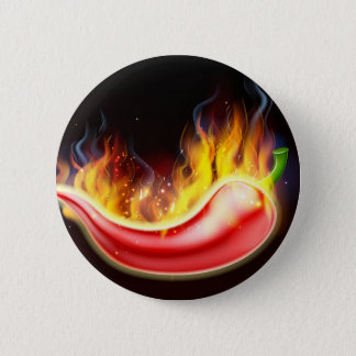 Flaming Hot Red Chilli Pepper 2 Inch Round Button