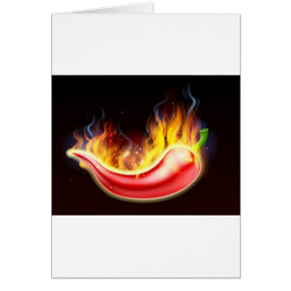Flaming Hot Red Chilli Pepper Card