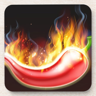 Flaming Hot Red Chilli Pepper Coaster