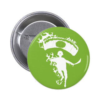 Flaming Japanese Zombie Paratrooper Pinback Button
