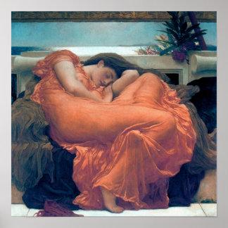 Flaming June Woman orange dress Poster