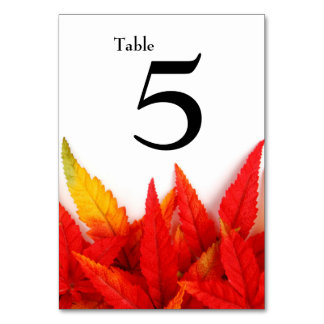 Flaming Leaves Autumn Table Number Card Table Cards