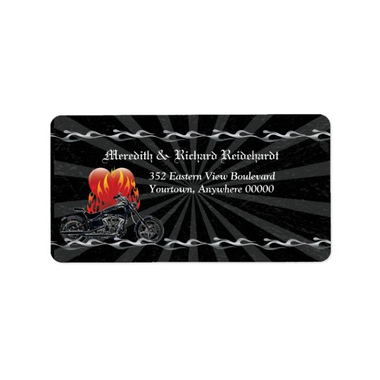 Flaming Love Biker Address Label