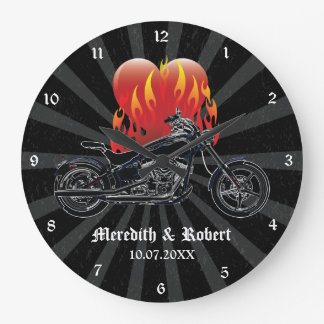 Flaming Love Biker Personalized Wall Clock