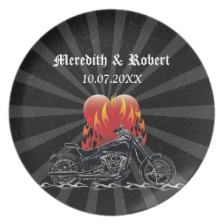Flaming Love Biker Plate