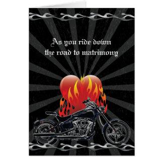 Flaming Love Biker Wedding Greeting Card