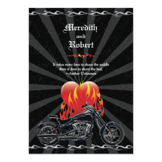 Flaming Love Biker Wedding Invitation