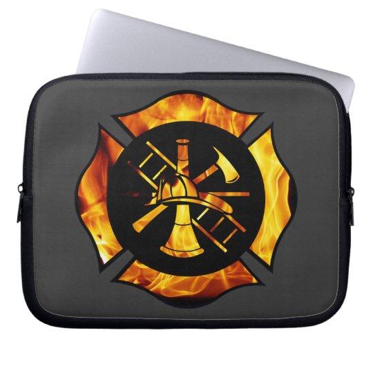 Flaming Maltese Cross Laptop Sleeve