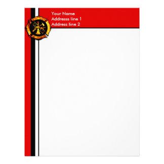 Flaming Maltese Cross Letterhead - Red