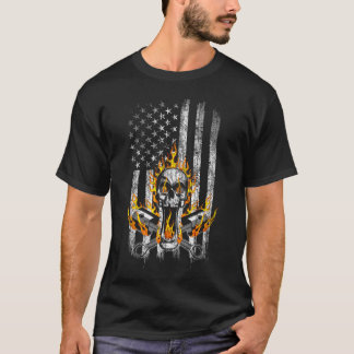 Flaming Mechanic Skull and Pistons American Flag T-Shirt