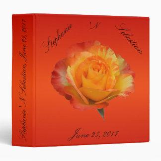 Flaming Orange N Yellow Exquisite Full Bloom Rose Vinyl Binders