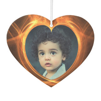 Flaming Orange Photo Heart Artwork Photo Template Car Air Freshener