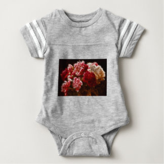 Flaming Red Peony Flower Bouquet Baby Bodysuit