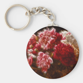 Flaming Red Peony Flower Bouquet Basic Round Button Keychain