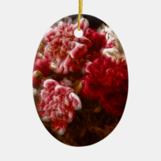 Flaming Red Peony Flower Bouquet Ceramic Ornament