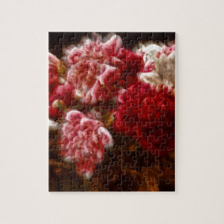 Flaming Red Peony Flower Bouquet Jigsaw Puzzle