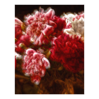 Flaming Red Peony Flower Bouquet Letterhead