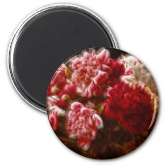 Flaming Red Peony Flower Bouquet Magnet