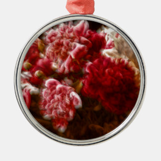 Flaming Red Peony Flower Bouquet Metal Ornament