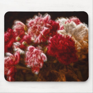 Flaming Red Peony Flower Bouquet Mouse Pad