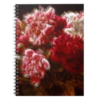 Flaming Red Peony Flower Bouquet Notebooks