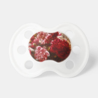 Flaming Red Peony Flower Bouquet Pacifiers