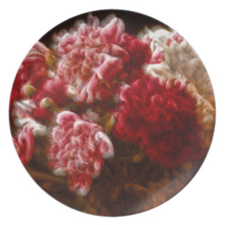 Flaming Red Peony Flower Bouquet Plate