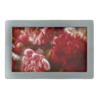 Flaming Red Peony Flower Bouquet Rectangular Belt Buckles