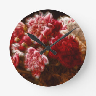 Flaming Red Peony Flower Bouquet Round Clock