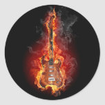 Flaming rock guitar round sticker