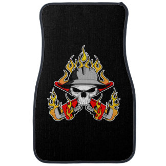 Flaming Roughneck Skull Car Mat
