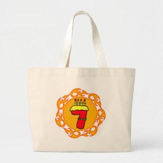 Flaming Seven 7th Birthday Gifts Jumbo Tote Bag