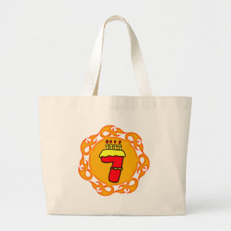 Flaming Seven 7th Birthday Gifts Large Tote Bag