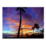 Flaming skies over Waikiki beach