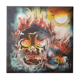flaming skull abstract art tile
