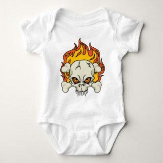 Flaming Skull and Crossbones Baby Bodysuit