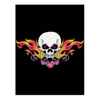 Flaming Skull and Hearts Postcard