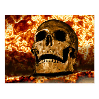 Flaming Skull Burning Fire Surreal Gothic Postcard