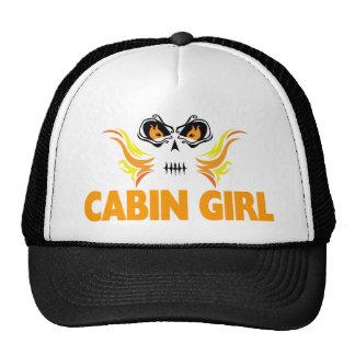 Flaming Skull Cabin Girl Trucker Hat