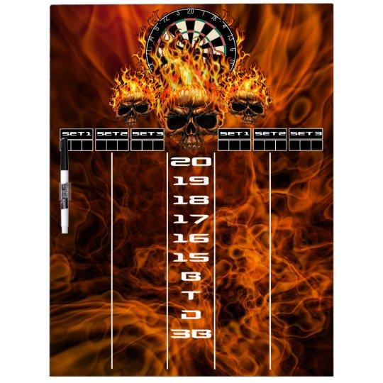 Flaming Skull Darts Scoreboard Dry Erase Boards