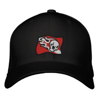 flaming skull dive flag embroidered hat